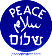 B093 - Peace in English Hebrew and Arabic - Button