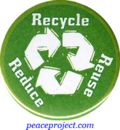 Recycle Re-Use Reduce - Button