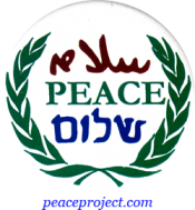 B341 - Peace in Arabic, English and Hebrew - Button
