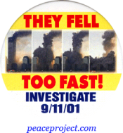 B872 - They Fell Too Fast - Investigate 9/11 - Button