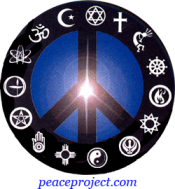 Peace Sign - Black With Religious Symbols Around The Outside - Button