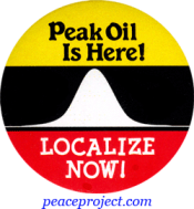 Peak Oil Is Here- Localize Now - Button