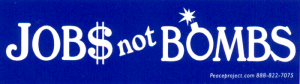 MS136 - Jobs Not Bombs - Mini-Sticker