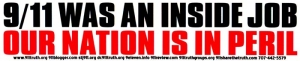 S396 - 9/11 was an Inside Job, Our Nation is in Peril - Bumper Sticker