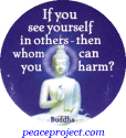 B1162 - If You See Yourself In Others Then Whom Can You Harm? Buddha - Button