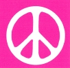 MS114 - Peace Sign - White over Pink - Mini-Sticker