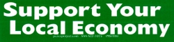 Support Your Local Economy (green reverse) - Mini-Sticker
