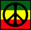 MS180 - Peace Sign over Rasta Colors - Mini-Sticker