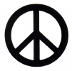 MS21 - Black over White Peace Sign - Mini-Sticker