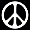 MS22 - Peace Sign - White over Black - Mini-Sticker