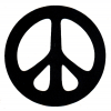MS73 - Black Peace Sign over White - Mini-Sticker