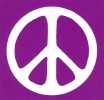 MS090 - Peace Sign - White over Purple - Mini-Sticker