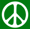 MS94 - Peace Sign - White over Green - Mini-Sticker