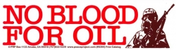 S284 - No Blood for Oil - Bumper Sticker