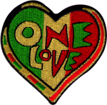 PS60 - One Love Heart (Rasta Colors) - Patch