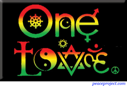 One Love Symbols with Rasta Colors - Rectangle Magnet