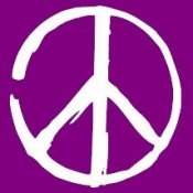 Peace Sign (On Violet) - Women's T-Shirt