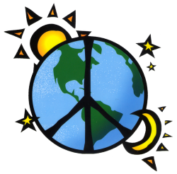 WA161 - Earth, Peace, Sun, Stars and Moon - Window Sticker